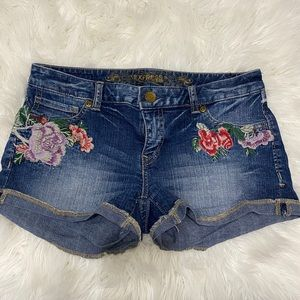 Size 4 Express Dark Denim Embroidered Shorts